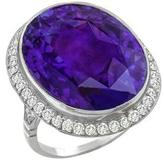 Antique 23.45ct Amethyst 2.20ct Diamond Ring