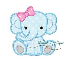 Baby Girl Elephant Applique - 3 Sizes! | What's New | Machine Embroidery Designs | SWAKembroidery.com Dollar Applique