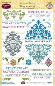 Damask Anniversary Card