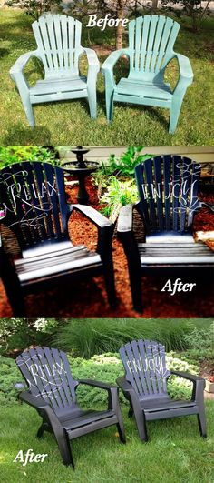 Find out more about Patio Chair Makeover & Spray Painted Plastic Outdoor Chairs update: one year later   diy ...