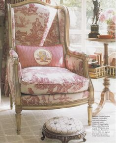 This French Wing Chair has toile upholstery & giltwood.It is just gorgeous. This French Wing Chair has toile upholstery. French Country Cottage, French Country Style, French Decor, French Country Decorating, French Furniture, Furniture Design, Furniture Removal, Cheap Furniture, Discount Furniture