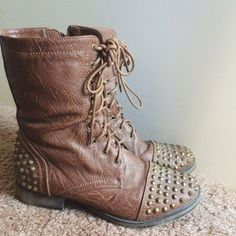 Studded Combat Boots **Perfect for Fall**                                  worn 2 or 3 times. The boots look worn out but thats the style of them. They're just not my style any more. Still in great condition. NO TRADES Shoes Combat & Moto Boots