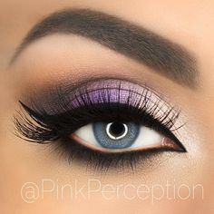 white to purple to dark brown to nude under the brow over the brow bone. Notice the highlighting under the eye also makes the colors on the top lid pop.
