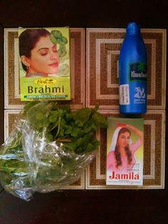 henna mix (brahmi powder + jamila henna + cooled tea + coconut oil)
