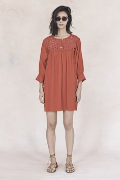 your sneak peek at madewell's spring 2016 collection: soft red 3/4 sleeve dress, leather lace-up sandals + the indio sunglasses. pre-order your favorites now by calling 866-544-1937 (434-385-5792 for our international friends) or email shopfirst@madewell.com to get first dibs  #everydaymadewell