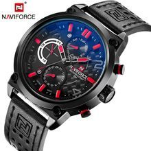 NAVIFORCE Luxury Brand Leather Analog Quartz Wristwatches Functional Military Men's Watches Casual Clock Men Relogio Masculino(China)