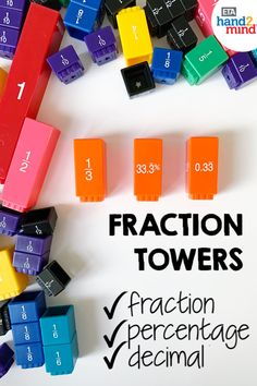 Fraction tower cubes are the perfect manipulates for upper elementary students to explore fractions.  Use them for hands-on learning to introduce equivalent fractions, comparing fractions, mixed numbers, and even adding & subtracting with unlike denominators.  Sides on the cubes display fractions, decimals and percentages.  Use them with task cards for independent student practice, or as part of your small group instruction.  Fraction tiles help students recognize that fractions fit together to Fun Math, Math Games, Math Activities, Comparing Fractions, Equivalent Fractions, Math Rotations, Math Centers, Math Is Everywhere, Independent Student