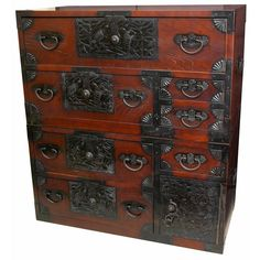 Our Emperors Tansu chest is the premier Tansu chest in our line. This chest features fully lacquered black iron hardware and unique black iron symbols. These symbols refer to happiness and joy in the home.