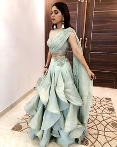 Wearing for the NBT Utsav Award 👗 Styled by Makeup Hair Team Indian Gowns Dresses, Bridal Dresses, Evening Dresses, Indian Wedding Outfits, Indian Outfits, Indian Designer Outfits, Designer Dresses, Lehnga Dress, Lehenga Choli