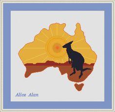 Cross Stitch Pattern Map of Australia with silhouette of kangaroo Counted Cross Stitch Pattern/Instant Download Epattern PDF File