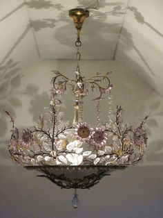 French Country Living; Graceful Interiors; Fresh & Traditional Design Antique Chandelier, Chandeliers, Chandelier Lighting, French Chandelier, Floral Chandelier, Pretty Lights, Beautiful Lights, I Love Lamp, Deco Boheme