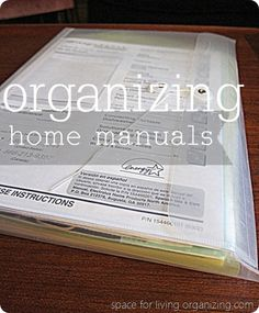 Space for Living Organizing   Steps to Tame your Manuals and Find your Warranties!