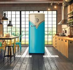 Lovers of the classic Volkswagen type 2 bus will love this limited edition refrigerator. Gorenje Retro Special Edition VW Fridge was inspired by the f. Gorenje Retro, Sweet Home, Vw T1, Volkswagen Bus, Retro Home Decor, Deco Design, Traditional Decor, Tent Camping, Vintage Designs
