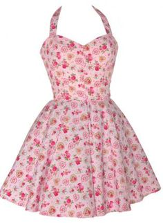 50s Style Sweetheart Rose Print Dress,  Dress, floral dress 50s style pin up, Casual