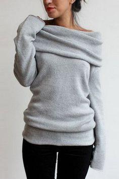 Grey Turtleneck Off-the-shoulder Sweater
