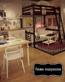 go up… use bunk bed or loft for prop storage, with seating underneath? Kids Bunk Beds, Tiny Spaces, Small Apartments, Small Rooms, Ikea Loft, Deco Studio, Small Room Design, Kids Room, Raised Beds