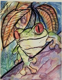Sharpie Marker on Transparency w/ Watercolor Under-painting......FROG - Conway High School Art Project