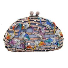 Bring some sparkle to any outfit with this fabulous Butler & Wilson Multi Flamingo Swarovski Crystal Clutch Bag.