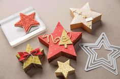 The Bright & Beautiful stamps coordinate perfectly with the Stars framelits and make such adorable little star boxes!