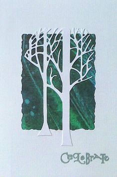 Clarity Fresh Cut Treescape die cut on designer papers - by Lynne Lee Clarity Card, Barbara Gray, Die Cut Cards, Paper Design, Color Palettes, Colorful Backgrounds, Card Ideas, Christmas Cards, Stamps