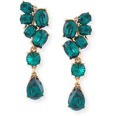 Oscar de la Renta Asymmetric Crystal Clip Earrings (€340) ❤ liked on Polyvore featuring jewelry, earrings, green, green earrings, swarovski crystal earrings, green drop earrings, crystal earrings and pandora jewelry
