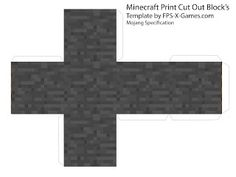 Minecraft stone block papercraft cut out
