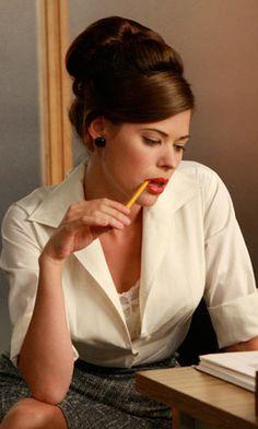 http://www.nypl.org/blog/2010/09/13/mad-men-reading-list  Jane.. when she was still a secretary