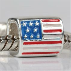 Patriotic US American Flag Enamel Authentic Sterling Silver Solid Core Charms Symbols