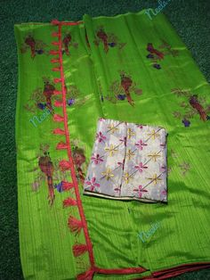 Note: This product is COD available Jute Saree comes with all over birds, Paired with a designer embroidered blouse Pallu comes with tassels saree + blouse Jute Sarees, Brocade Blouses, Designer Silk Sarees, Peacock Design, Printed Sarees, Embroidered Blouse, Saree Collection, Bird Prints, Blouse Designs