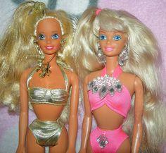 Sun Sensation and Sun Jewel Malibu Barbie, Barbie I, Vintage Barbie Dolls, Barbie World, Barbie And Ken, Barbie Clothes, Childhood Toys, Childhood Memories, Mermaid Barbie