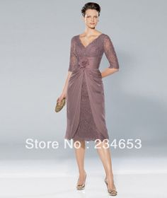 mid length dresses with sleeves | sexy lace chiffon mid sleeves knee length mother of the bride dresses ...