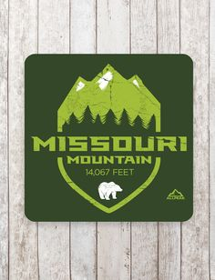 """Missouri Mountain Sticker Named for the """"Show Me"""" state, Missouri Mountain rises from the Sawatch Range with its jagged majestic peak - bold and strong like a bear. Distressed original design with elevation element. Approximately 4"""" square with rounded corners, vinyl, silkscreen-printed sticker with 3 layers of UV coating to survive indoors and out. Perfect for your Jeep bumper or beer fridge."""
