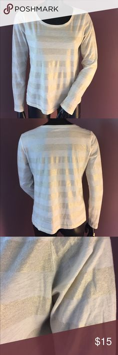 LOFT  Long-sleeved Tee With Cream and Gold Stripes LOFT  Long-sleeved Knit Top with Cream and Gold Stripes. Excellent Used Condition! ❤️ bundle and save❤️ LOFT Tops Tees - Long Sleeve