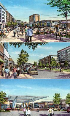 Retail center renderings by Bruce Bondy, Bondy Studio Landscape Sketch, Landscape Architecture Design, Urban Architecture, Landscape Drawings, Historical Architecture, Perspective Drawing Lessons, Elevation Drawing, Urban Design Plan, Plan Sketch