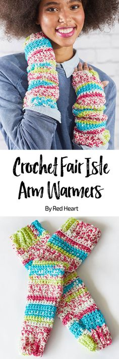 Crochet Fair Isle Arm Warmers free crochet cowl in Super Saver Fair Isle yarn. You'll love these longer slouchy arm warmers for their looks and wonderful warmth. Fair Isle-inspired yarn is the perfect choice for gifts or to treat yourself!