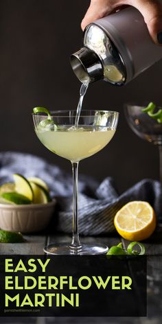 Looking for a fun elderflower gin cocktail? Our Elderflower Martini recipe has vodka, gin & homemade sweet and sour. It's our number 1 martini recipe Cocktails For Parties, Fruity Cocktails, Winter Cocktails, Cocktail Drinks, Vodka Drinks, Holiday Drinks, Prosecco Cocktails, Cocktail Ideas, Craft Cocktails