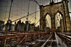 Brooklyn Bridge at Sunrise New York City- Brooklyn Bridge-Winter Sunrise 2015 HDR-Nocturnal Echo Imagery-Etsy-ArtsofTimeandLife