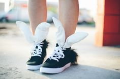 DIY Bunny Sneakers | Shoes with a sense of humor! The cheeky, cute attitude of these easy sneakers will make them a stand out in any outfit!
