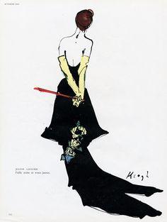 Jeanne Lafaurie A/H Illustration de Tom Keogh. Vintage Dress Patterns, Vintage Dresses, Fashion Illustrations, Fashion Sketches, Jeanne Lafaurie, 1940's Fashion, Fashion Design, Rene Gruau, Evening Gowns