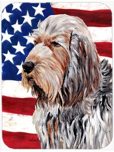 Otterhound with American Flag USA Mouse Pad - Hot Pad or Trivet SC9636MP #artwork #artworks