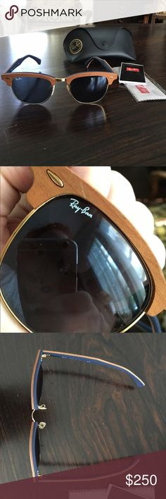 ✂️New Walnut Rayban Club-Masters (Ret. $290)✂️ Got these as a gift but they were the wrong color. They came with a flaw in the wood just above the right eye. Comes with case and cleaning cloth. These retail for $290. Ray-Ban Accessories Sunglasses