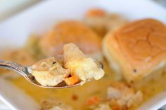 Island Style Chicken & Dumplings from - dinner rolls added as dumplings to this subtly sweet, herbal, creamy broth with chicken makes a truly island style version of a Southern classic, sure to brighten your summer. Kings Hawaiian, Hawaiian Chicken, Chicken And Dumplings, Dinner Rolls, Food For Thought, Herbalism, Southern, Island, Eat