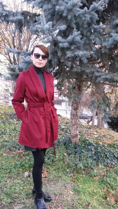 Palton Burgundy Burgundy, Autumn, Coat, Jackets, Collection, Fashion, Down Jackets, Sewing Coat, Moda