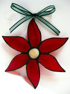 Stained Glass Poinsettia Christmas Ornament Holiday Decoration Suncatcher