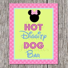 INSTANT DOWNLOAD Minnie Mouse 8x10 Hot Diggity Dog Bar Sign / Printable DIY / Bowtique Collection