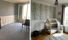 Rénovation d'une meulière avec déco intérieure rétro et beaux papier peints Decor, Room, House, Toddler Bed, Home, Deco, Bed, Room Divider, Renovations