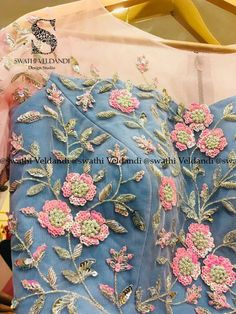 Stunning baby pink color lehenga and blouse with floret lata design hand embroidery thread work. Embroidery On Kurtis, Hand Embroidery Dress, Kurti Embroidery Design, Couture Embroidery, Embroidery Suits, Embroidery Fashion, Hand Embroidery Designs, Beaded Embroidery, Embroidery Patterns