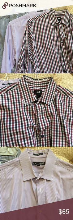 ➡️Men's button down bundle⬅️ Two shirt button down bundle in large! Gently used. Bugatchi and  H&M. The Express shirt was sold separately! Bugatchi Shirts