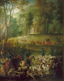 Jean Baptiste Oudry (1686-1755)  Louis XV Hunting with Dogs  Inv. M.R.2231  Fontainebleau, Château de Fontainebleau