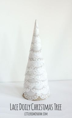 Make your own Lace Doily Christmas Tree, they're delicate, snowy and so pretty! And even better, super easy to make! via littleredwindow.com